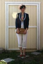 navy Ralph Lauren blazer - cream floral thrifted vintage scarf - white thrifted