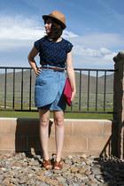 blue jean thrifted vintage skirt - camel fedora thrifted vintage hat