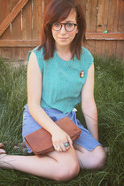 brown Ralph Lauren purse - sky blue Vintage Thrifted skirt - turquoise blue diy