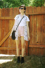 Black-voodoo-thrifted-vest-white-f21-shirt-light-pink-bill-blass-shorts