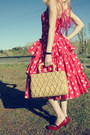 Ruby-red-50s-vintage-dress-tan-vintage-bag
