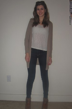 brown Zara cardigan - navy jeggings American Eagle jeans