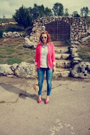 vivili blazer - Zara jeans - code1one heels