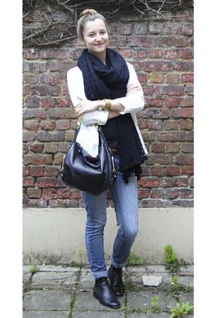 black COS boots - blue Mango jeans - ivory H&M blazer - black COS scarf