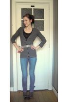 black NafNaf top - gray Massimo Dutti cardigan - brown  belt - blue Mango jeans