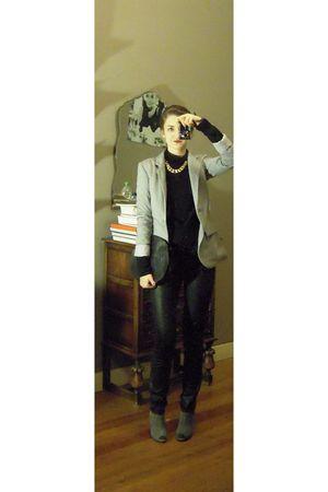 gray Newlook blazer - black H&M top - black H&M pants - black vintage purse - gr