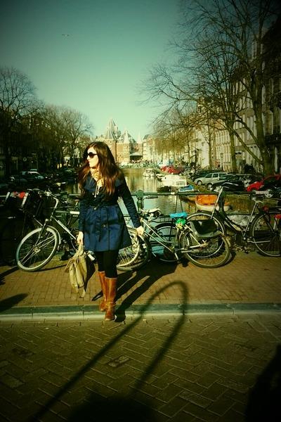 navy H&M coat - camel new look boots - H&M bag