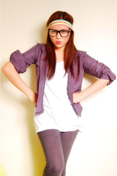 white Mix shirt - gray Zara leggings - gray g2000 cardigan