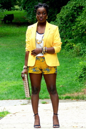yellow thrifted blazer - gold Aldo purse - yellow self-made shorts