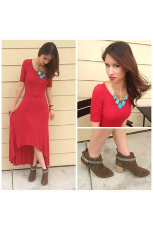 red Anthropologie dress - olive green Anthropologie boots