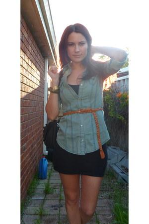 denim Temt shirt - studded Novo bag - black brogues Payless flats
