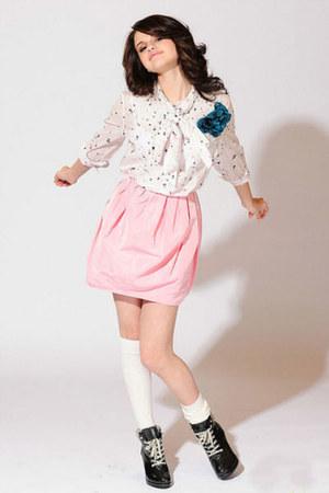 black shoes - white socks - light pink skirt - ivory blouse