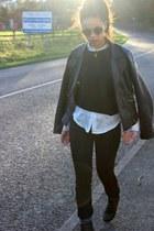 black leather Zara jacket - white silk Forever 21 shirt - black mesh Zara jumper