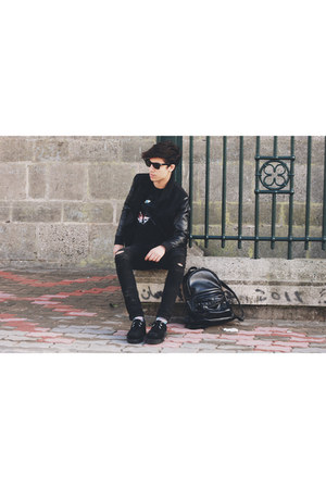 creepers shoes - april77 jeans - choies bag - rayban sunglasses