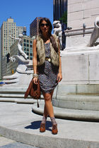 brown Zara bag - blue Gap dress - brown hm shoes - brown TJ Maxx vest