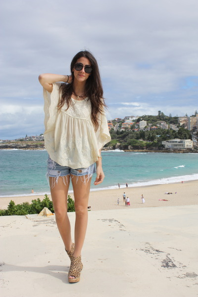 blue denim Urban Outfitters shorts - beige cheetah Jeffrey Campbell shoes