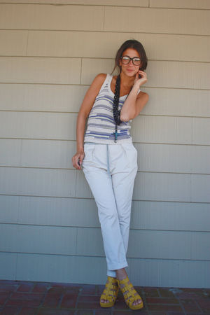 purple f21 top - beige Zara pants