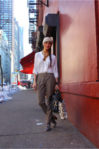 beige Zara pants - gold Dolce & Gabbana shoes - brown Gucci bag