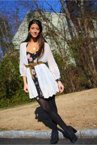 white Millau cardigan - black general pants dress - black Charlotte Ronson shoes