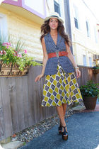blue cynthia steffe vest - green Anthropologie skirt - Jessica Simpson shoes