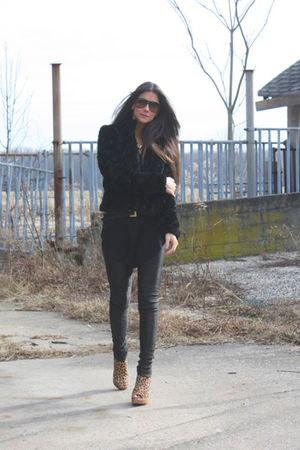 black faux fur H&M jacket - brown Jeffrey Campbell shoes - black Zara dress