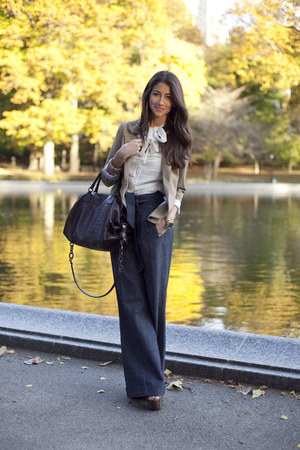 navy Habitual pants - camel Aqua blazer - ivory cynthia steffe blouse