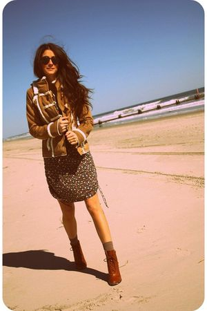 brown Anthropologie jacket - blue Gap dress - brown Urban Outfitters shoes - bro
