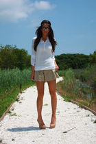 beige shorts - beige Aldo shoes - white blouse - gold asos accessories