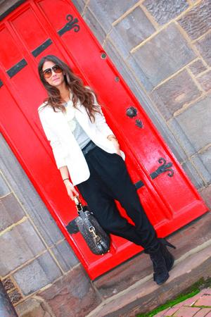 white Jones of New York& Company blazer - black Zara pants - gray J Crew top - g