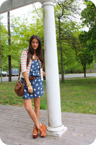 blue Zara dress - orange J Crew jacket - brown Jeffrey Campbell shoes - brown Za
