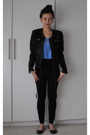 leather jacket jacket - Marc by Marc Jacobs flats - Topshop vest - pants