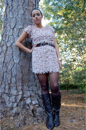 dark brown boots - dark brown tights - camel divas and devils dress - dark brown