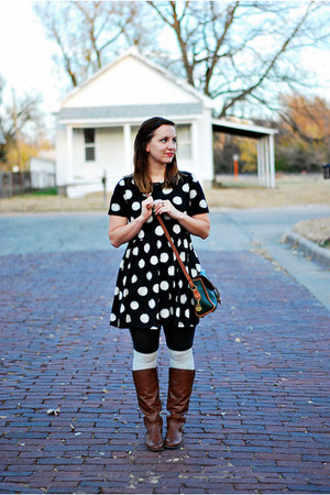 black white polkadots Forever 21 dress - brown riding boots American Eagle boots