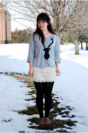 heather gray diy deer print Target sweater - brown oxfords Steve Madden shoes