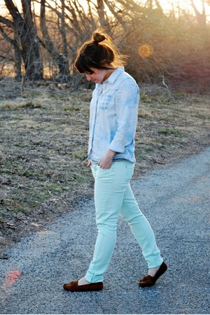 aquamarine mint jeans Rue 21 jeans - light blue chambray Forever 21 shirt