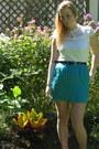 White-le-chateau-blouse-turquoise-blue-vintage-skirt