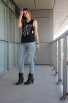black combat boots Aldo boots - sky blue ripped denim H&M jeans