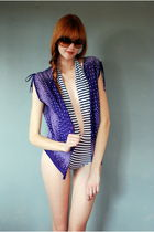 blue vintage swimwear - purple Leather Lace And Velvet Vintage blouse