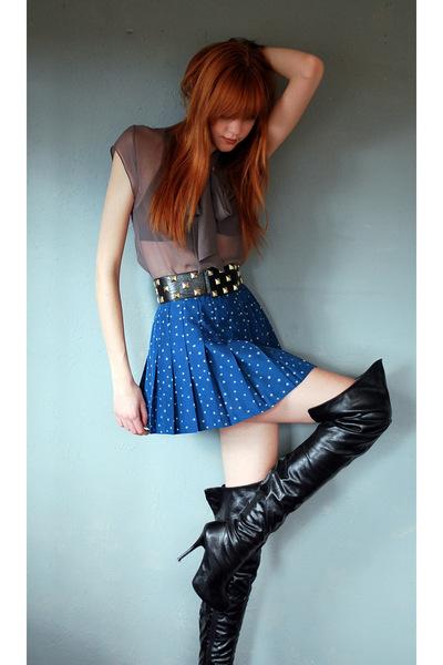 brown Geren Ford shirt - black Ciao Bella boots - black Forever 21 belt
