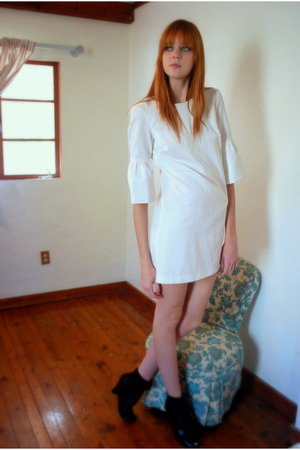 white H&M dress - black sam edelman shoes