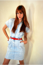 Blue-leather-lace-and-velvet-dress-red-vintage-belt