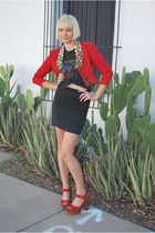 red Leather Lace And Velvet Vintage jacket - black vintage shirt - black skirt -
