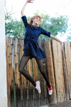 Blue-leather-lace-and-velvet-vintage-dress-black-tights-white-converse-shoes