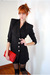 black Leather Lace And Velvet Vintage blazer - red vintage purse - black America