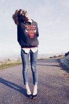charcoal gray sweater - black shoes - navy jeans