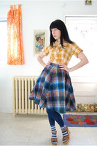 worn as blouse vintage dress - navy Forever 21 leggings - calvin klein socks - C