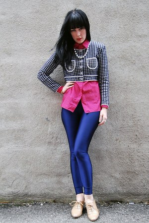 nude Forever 21 shoes - vintage jacket - blue American Apparel leggings - hot pi