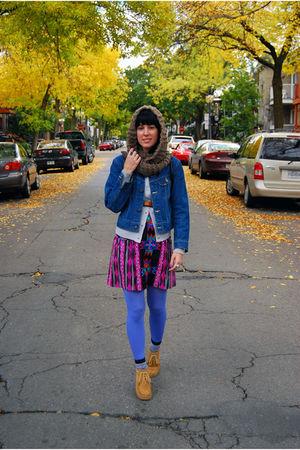 YarnOverMovement scarf - handmade skirt - banana republic boots - Lee jacket - H