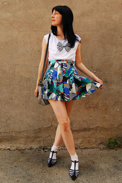 handmade necklace - white Lululemon t-shirt - vintage skirt - white H&M socks -