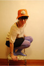 Urban-outfitters-dress-vintage-hat-hue-tights-cream-crochet-vintage-t-shir